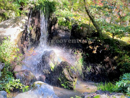 Rainbow in the mini-waterfalls of the garden surrounding Kinkakuji