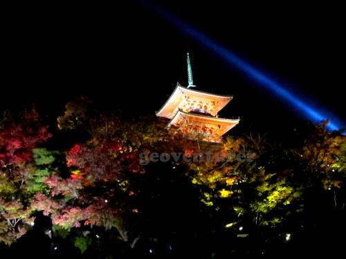 Illuminated pagoda in Kiyomizudera