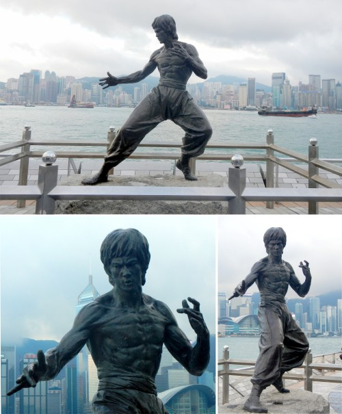 They're taking a photo of Bruce Lee! This statue is the highlight of the Avenue of Stars