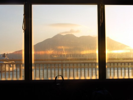 Early morning at the Kagoshima port, with the view of Sakurajima volcano