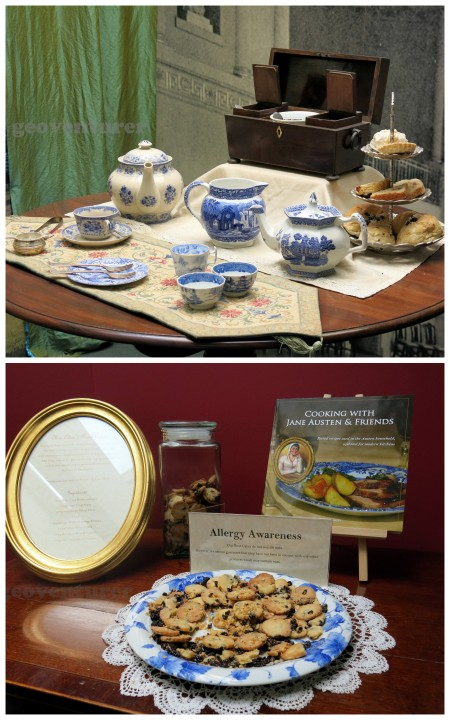 Tea set and free cookies at the exhibit