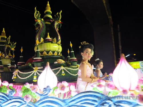 Beautiful girls in traditional costume were paraded in floats
