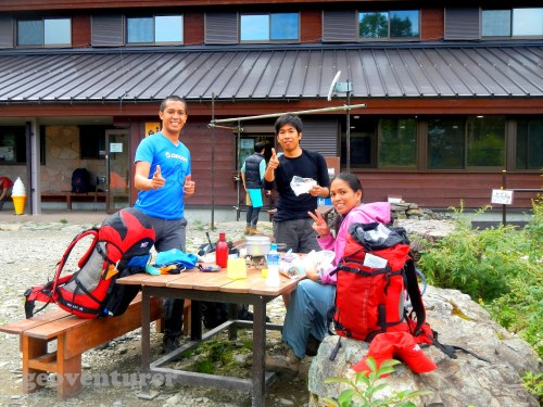 Lunch outside the Shiraneoike mountain hut