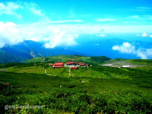 The Murodo hut seen from above